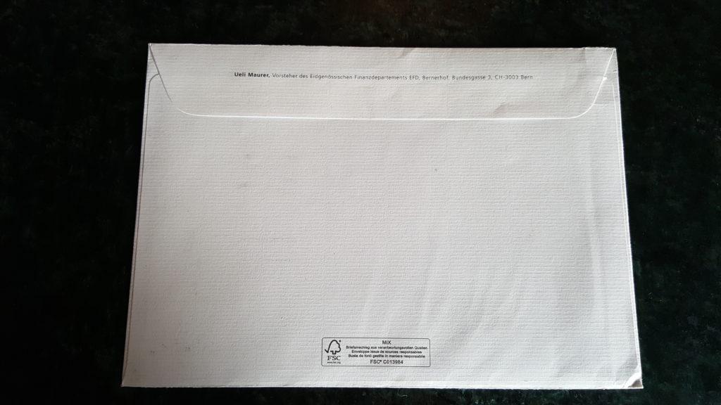 Kuvert von Ueli Maurer