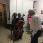 Luzius Gartmann (cellist) speaking with Alex Eugster (sound mixer)