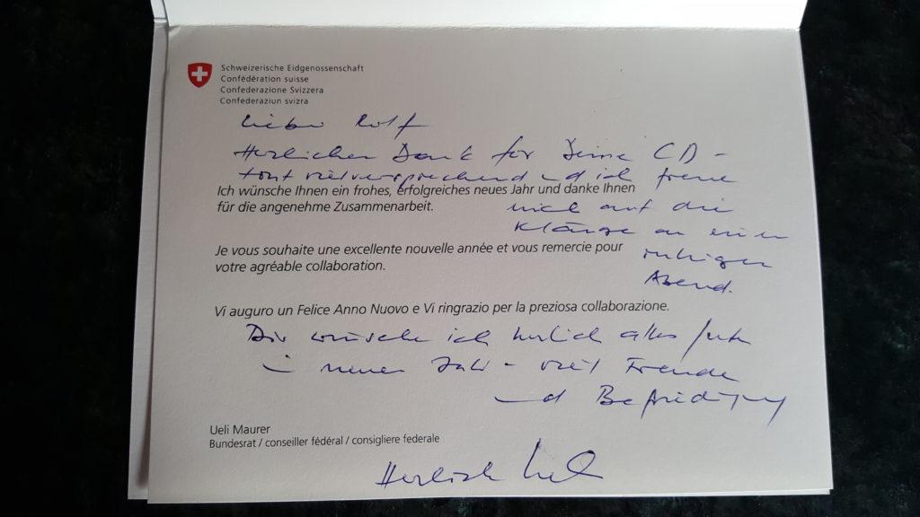 Brief von Ueli Maurer